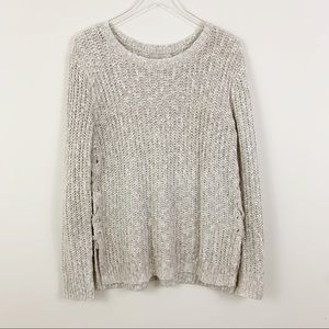 LUCKY BRAND Tie Side Knit Sweater Large Oversized